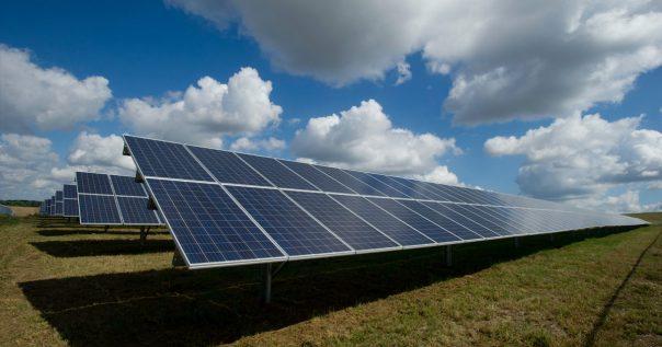 Solar power panels in a field.