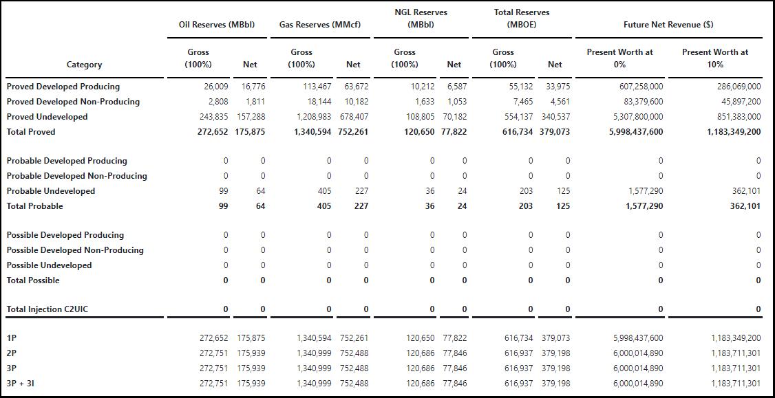Reserve Report Summary