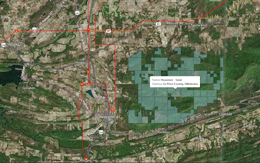 Map view of the parcels of a solar listing with transmission lines and substations on LandGate.com