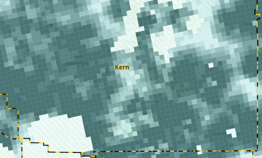 Heat map in Kern County, CA based on estimated solar lease values (proprietary to LandGate)