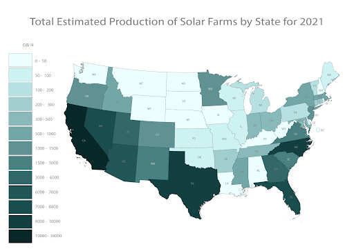 Solar farm estimated 2021 production by state (proprietary to LandGate).