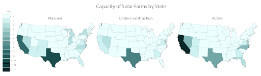 Three maps of capacity of solar farms for planned (left), under construction (middle) and active (right) (proprietary to LandGate).