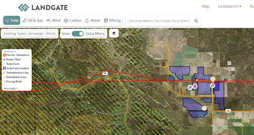 Outline of Topaz Solar Farm on LandGate's map.
