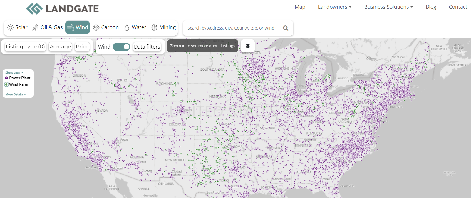 The east coast has a high concentration of wind farms as compared to the rest of the country.