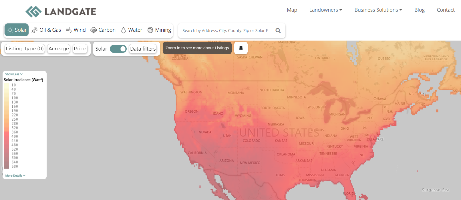 Solar Irradiance of the US from LandGate's map.